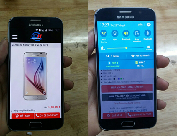 Samsung Galaxy s6 duo 2 sim tại duchuymobile