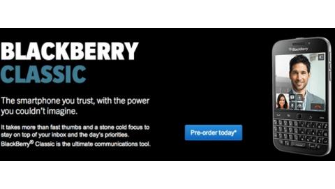 BlackBerry Classic đã cho đặt hàng, giá 449 USD