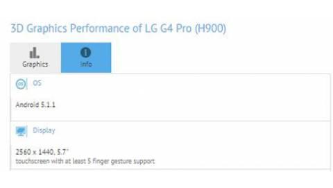 LG G4 Pro lộ thông tin cấu hình trên GFXBench