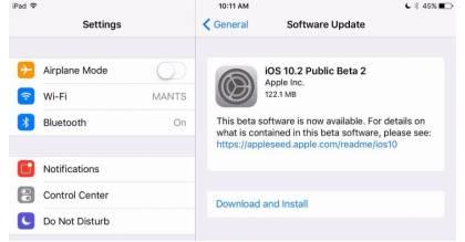 iOS 10.2 beta 2 chính thức phát hành