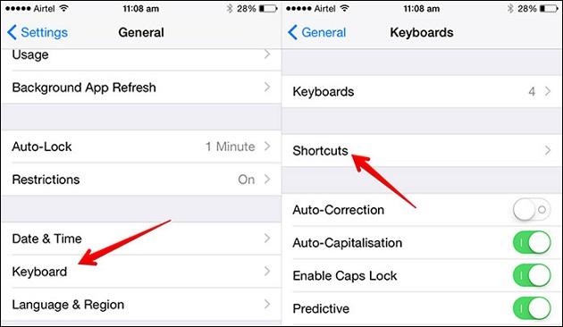 tạo phím tắt nhanh cho Emoji cho iPhone