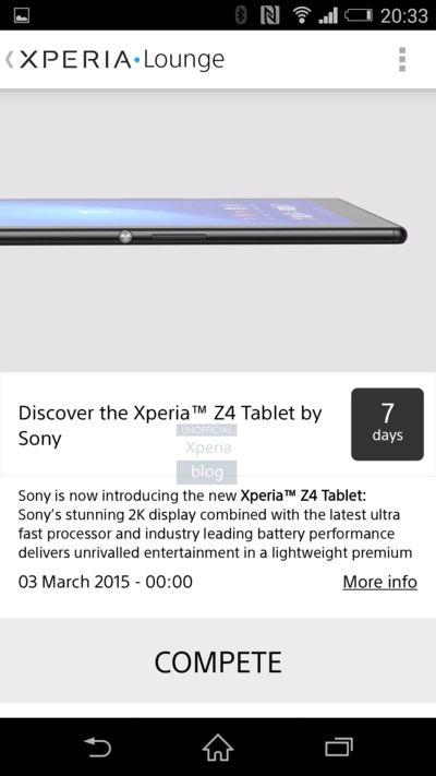 Thông tin về Sony Xperia Z4 tablet