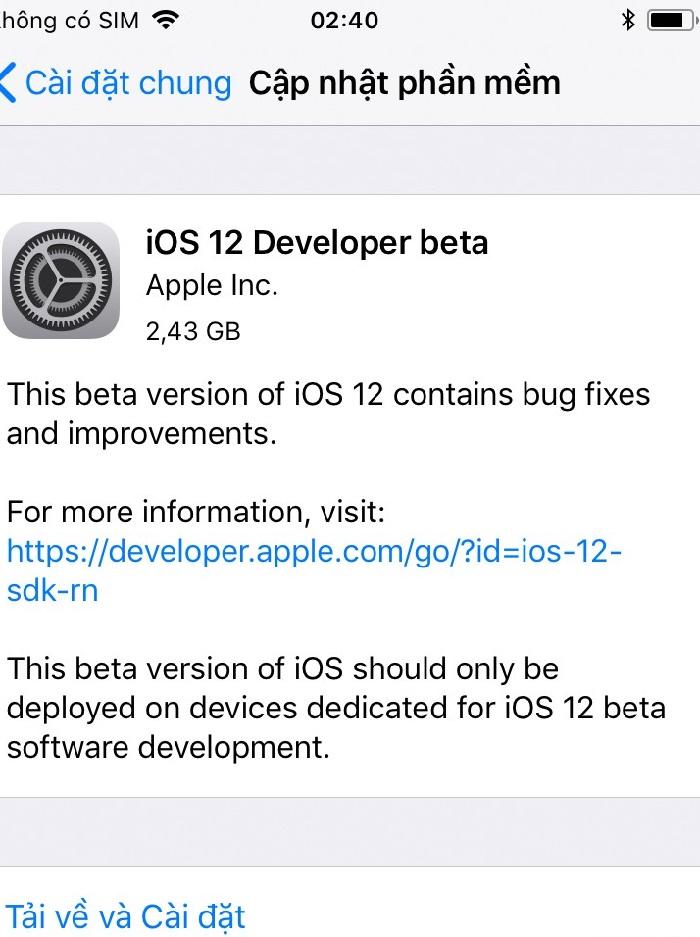 cài đặt ios beta 12 trên iphone, ipad