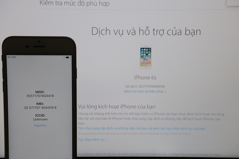 iphone 6s chưa active kiểm tra imei