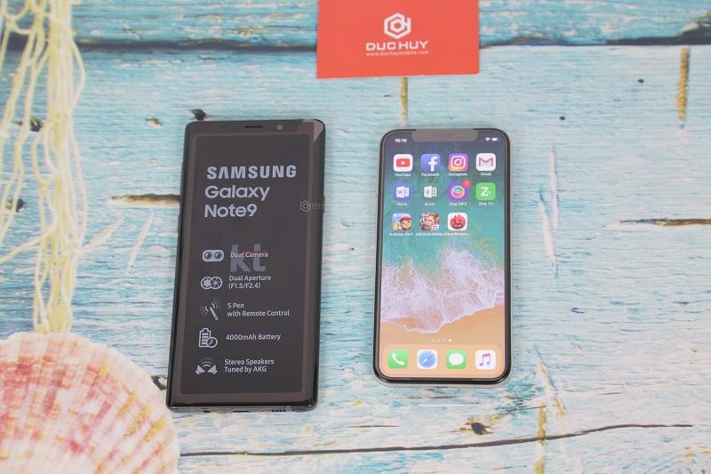 note 9 và iphone x màn hình