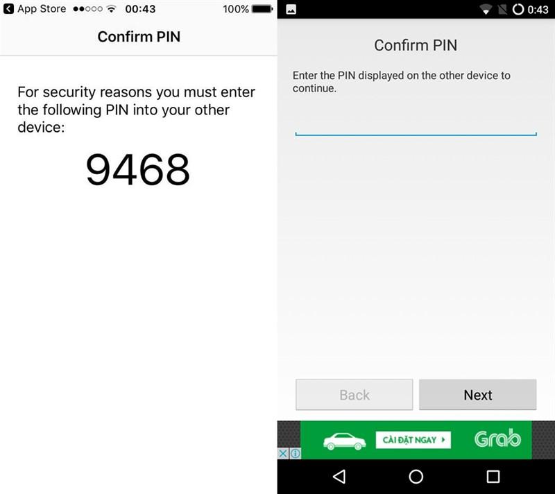 Nhập mật khẩu mà bạn thấy trên màn hình iPhone vào máy Android của bạn.