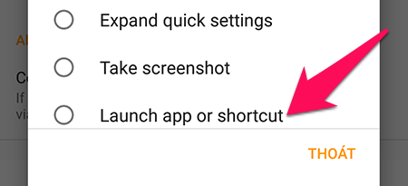 Launch app or shortcut.