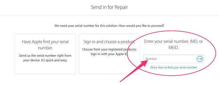 Nhập IMEI hoặc Serial number vào ô sau