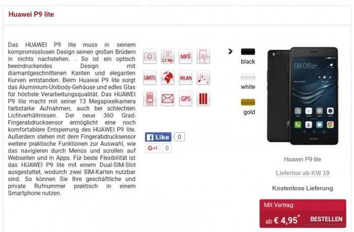 Giá Huawei P9 Lite