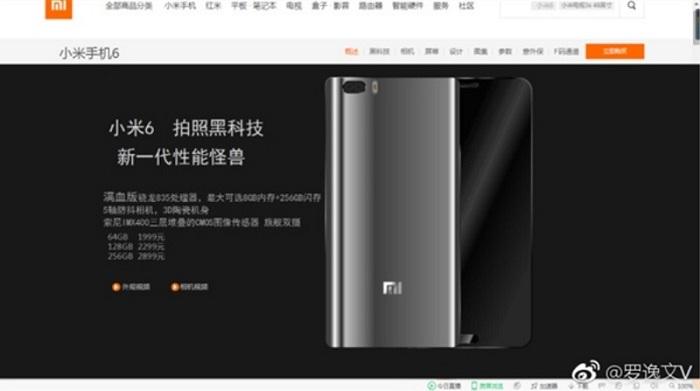 Thông tin Xiaomi Mi 6