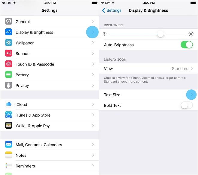 phóng to chữ tối đa trên thiết bị iPhone, iPad 2