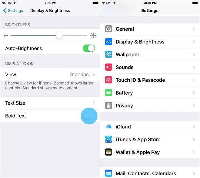 phóng to chữ tối đa trên thiết bị iPhone, iPad 5