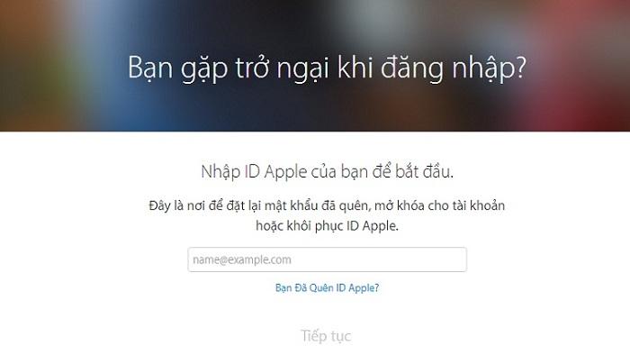 Mẹo lấy lại mật khẩu ID Apple: Bước 1