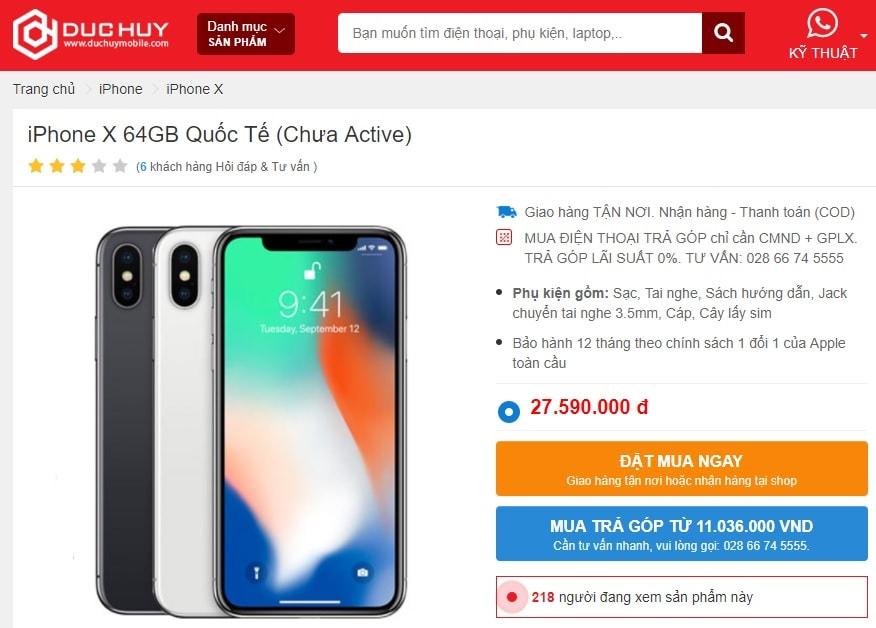 gia-ban-iphone-x-64gb-quoc-te-chua-active-xach-tay-duchuymobile