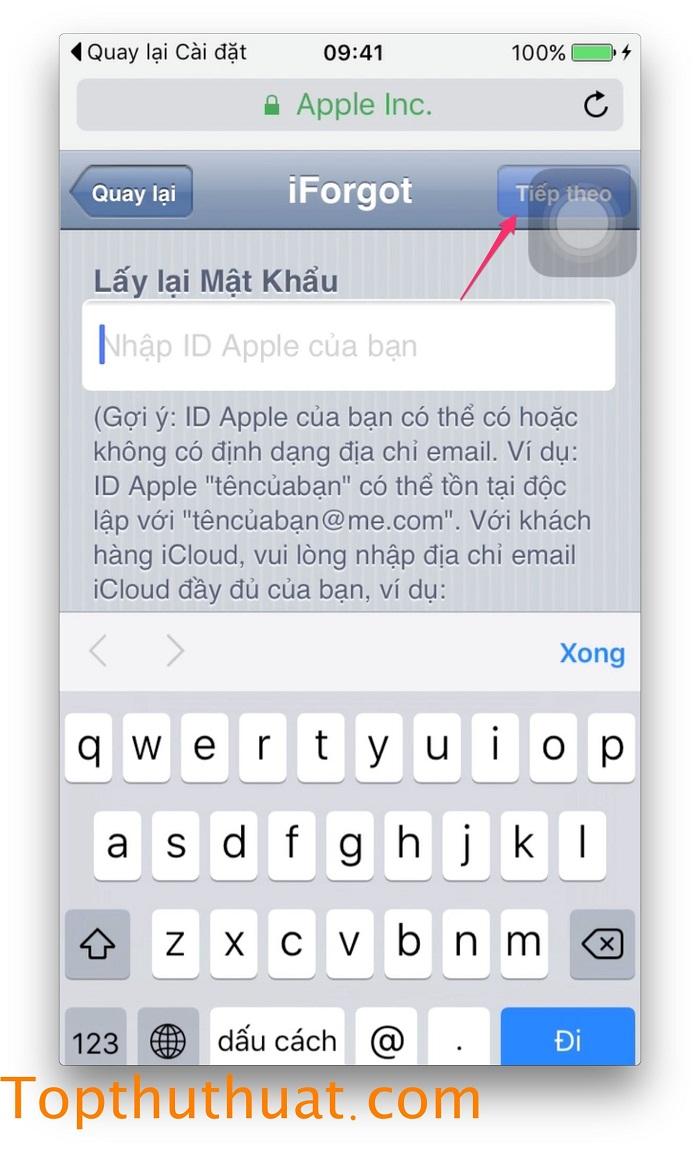 lấy lại mật khẩu Apple ID trên iPhone 12