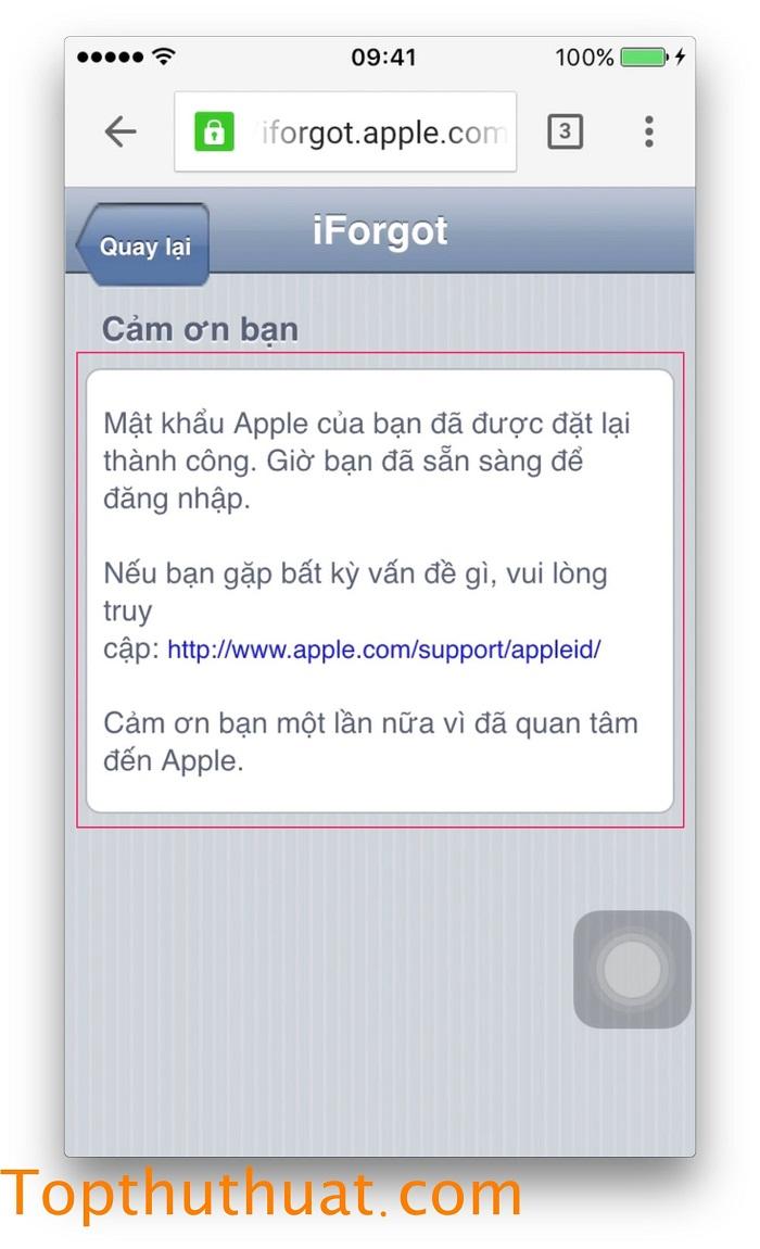 lấy lại mật khẩu Apple ID trên iPhone 19