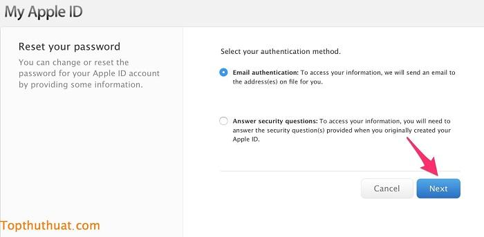 lấy lại mật khẩu Apple ID trên iPhone 2