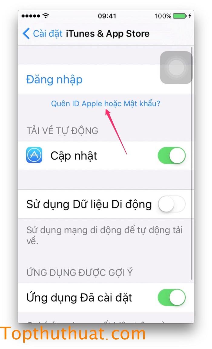 lấy lại mật khẩu Apple ID trên iPhone 9