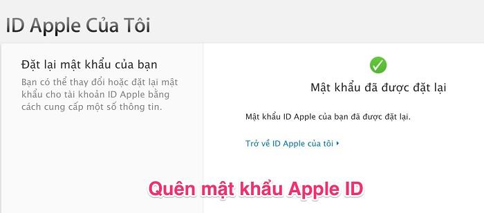 lấy lại mật khẩu Apple ID trên iPhone