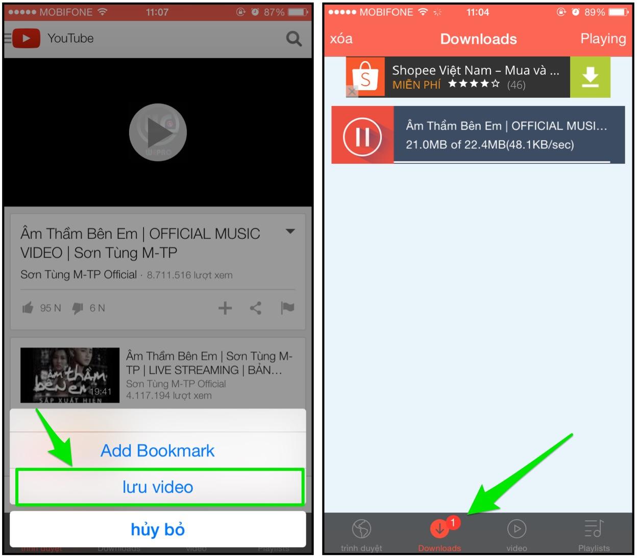 Mẹo tải video trực tiếp từ YouTube trên iPhone: Bước 3
