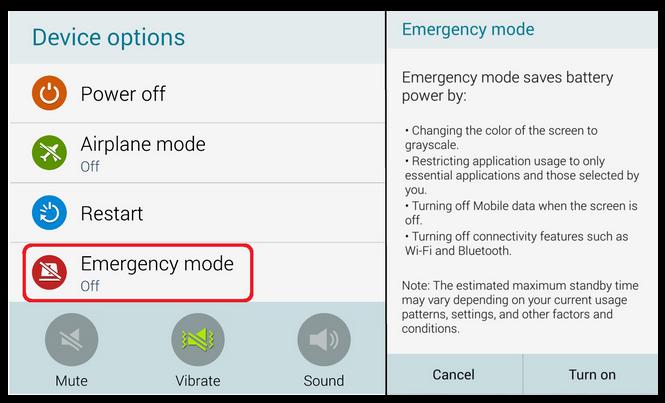 chế độ khẩn cấp trên điện thoại Samsung