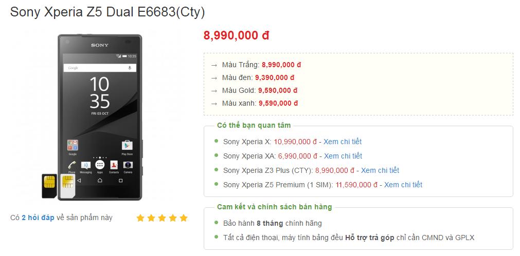 giá Sony Xperia Z5