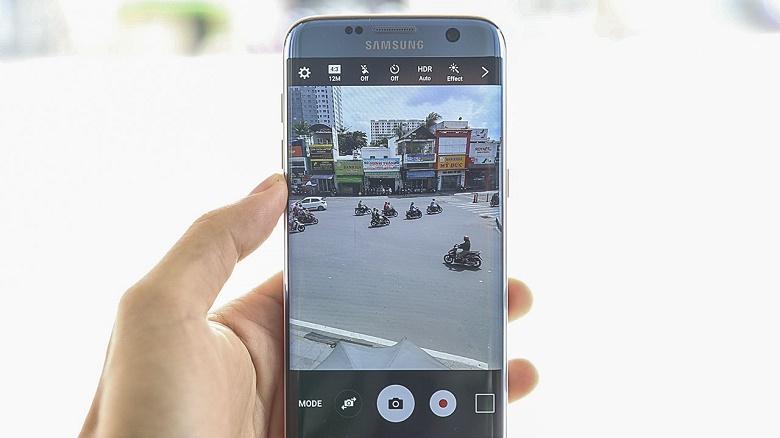Giao diện camera Samsung Galaxy S7 Edge xanh san hô