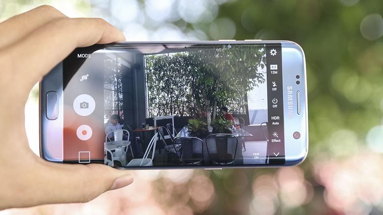 camera Samsung Galaxy S7 Edge xanh san hô