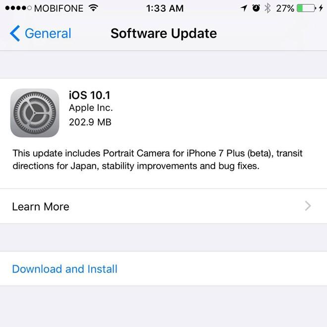 iOS 10.1 ra mắt