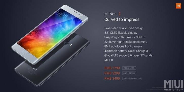 Xiaomi Mi Note 2 ra mắt