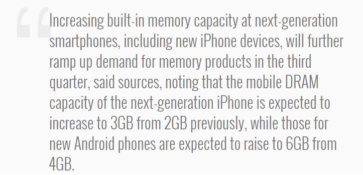 iPhone 7 sẽ sở hữu bộ nhớ RAM 3GB