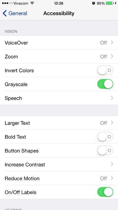 Tính năng Grayscale trên iOS 8 5