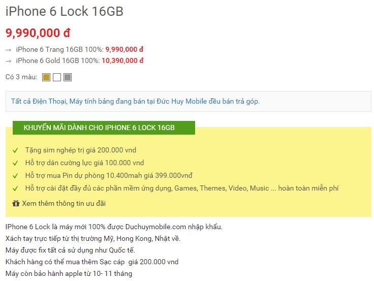 giá iPhone 6 lock tại Đức Huy Mobile