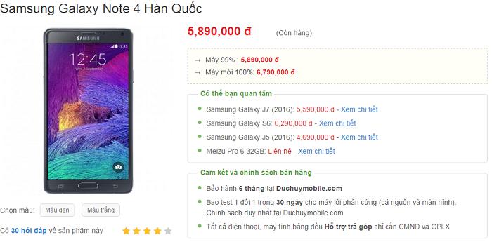 Samsung Galaxy Note 4 giảm giá sâu 2