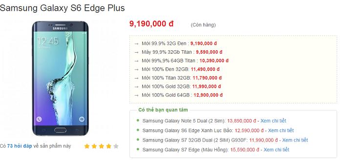 Samsung Galaxy S6 Edge Plus giảm sâu