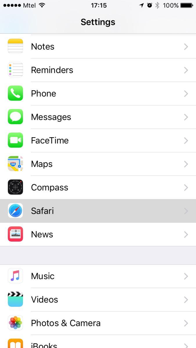 xóa lịch sử Safari trên iPhone