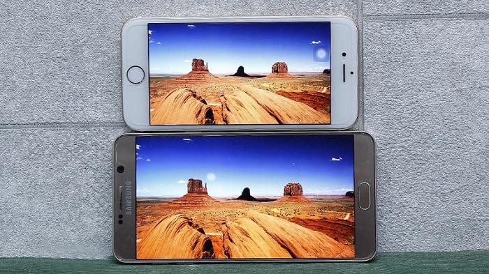 màn hình iPhone 6 cũ và Galaxy Note 5 Mỹ