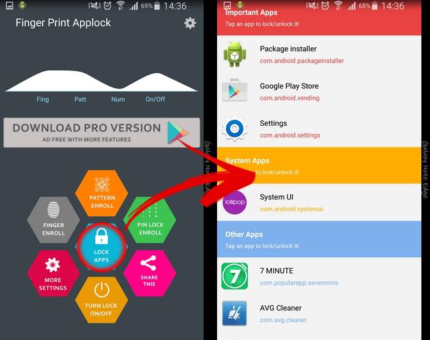 mở, khóa bằng dấu vân tay trên Android 1