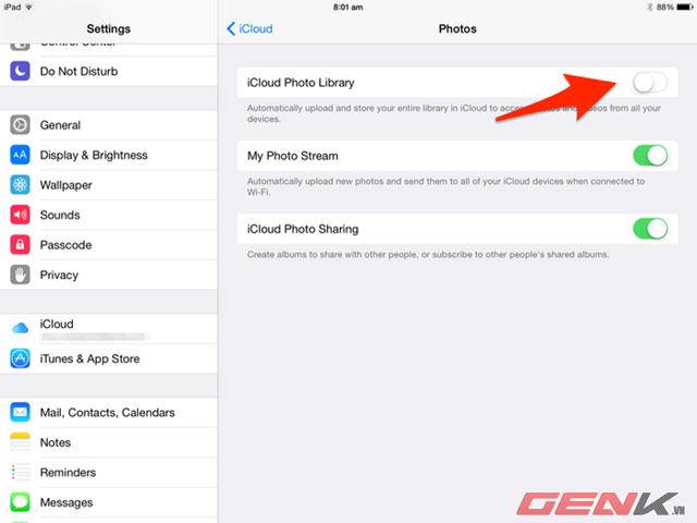 lưu hình ảnh và video lên iCloud để tiết kiệm dung lượng.
