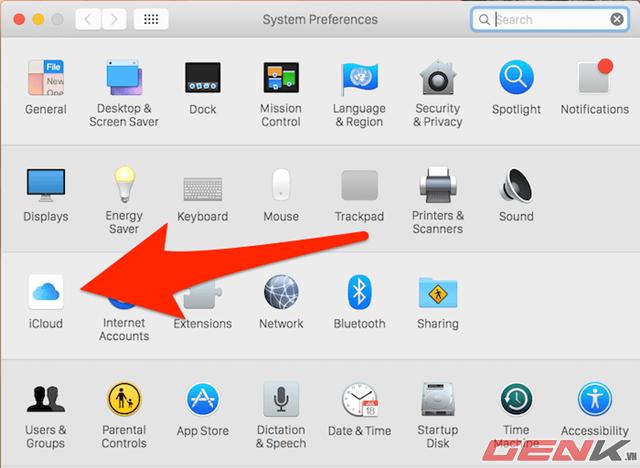 bạn hãy tìm và nhấp vào biểu tượng iCloud