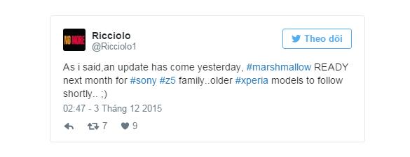 Sony Xperia Z5 sẽ được lên Android 6.0 trong tháng 1/2016