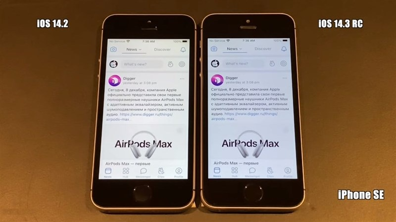 khởi động iOS 14.3 vs iOS 14.2