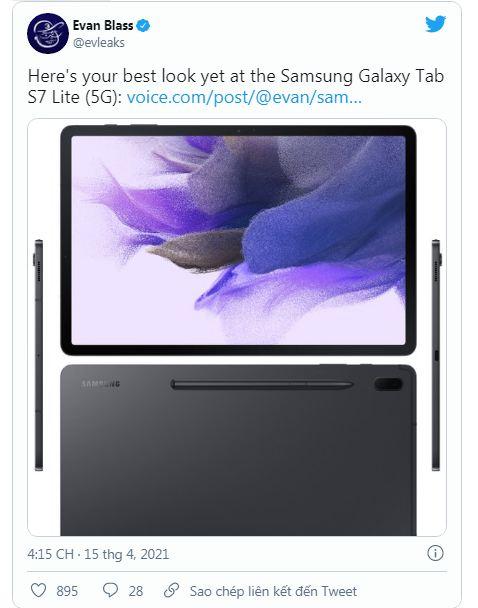 thiết kế Galaxy Tab S7 Lite
