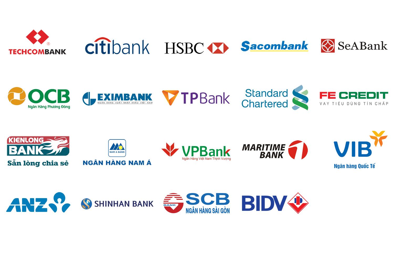 danh sách ngân hàng trả góp