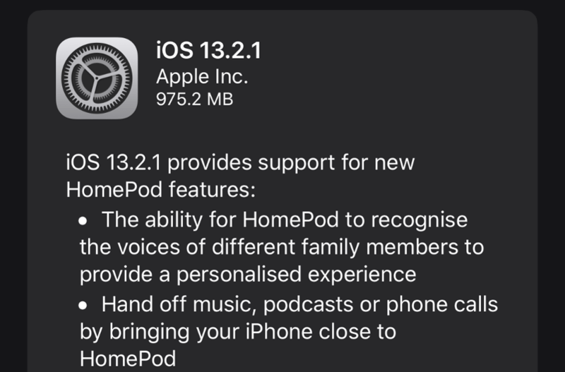 Apple lại ra iOS 13.2.1