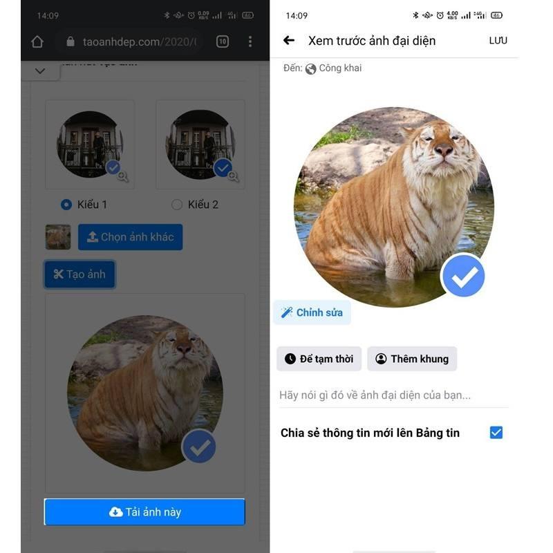 Cách tạo avatar Facebook có tích xanh lưu ảnh