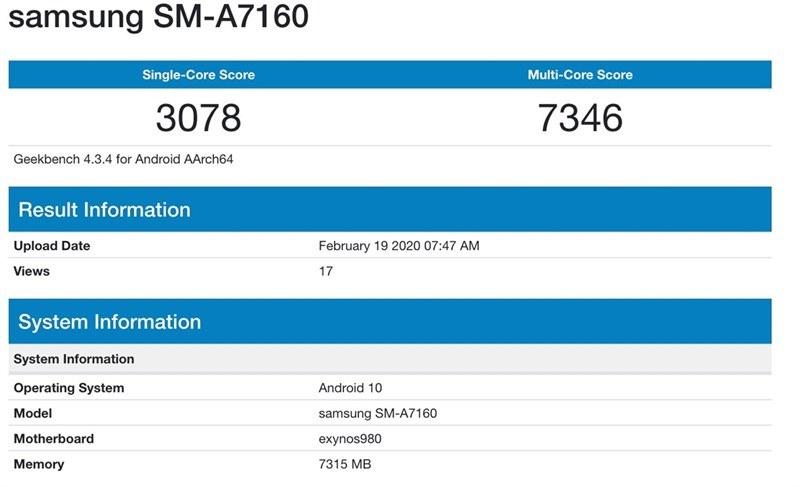 Samsung Galaxy A71 5G xuất hiện trên Geekbench