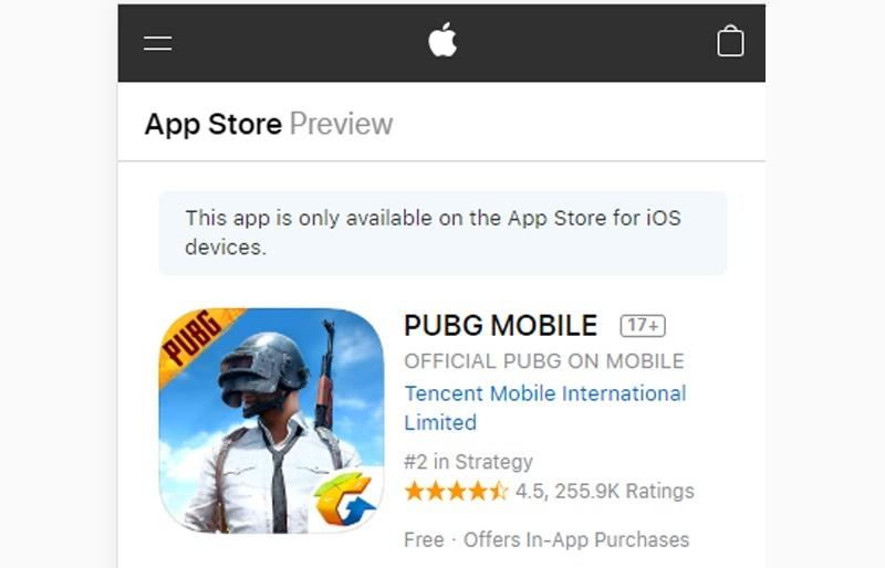 game bubg trên app store
