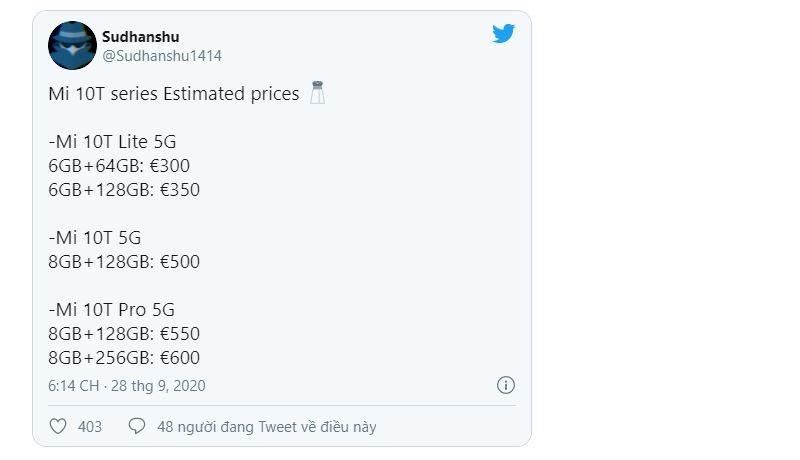 giá bán xiaomi mi 10t series