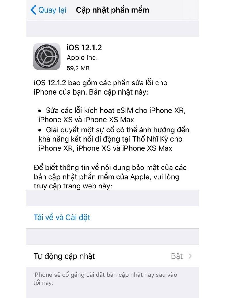 ios 12.1.2 mới phát hành